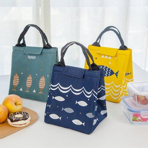 Cartoon Pattern Lunch Bag Point Heat Retaining Storage Bucket Bag