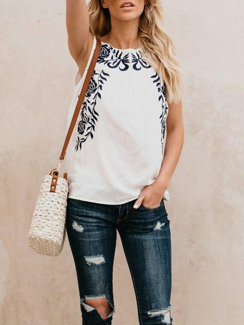 Women T-Shirt Beige Sleeveless Embroidered