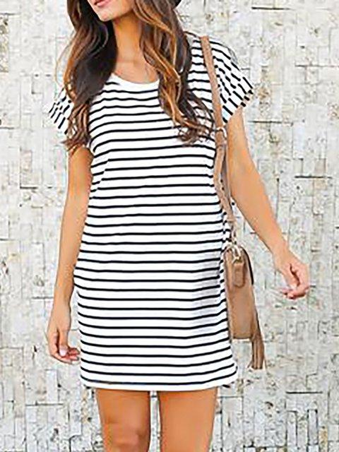 Black-white Sheath Women Daily Short Sleeve Basic Paneled Striped Summer Dress