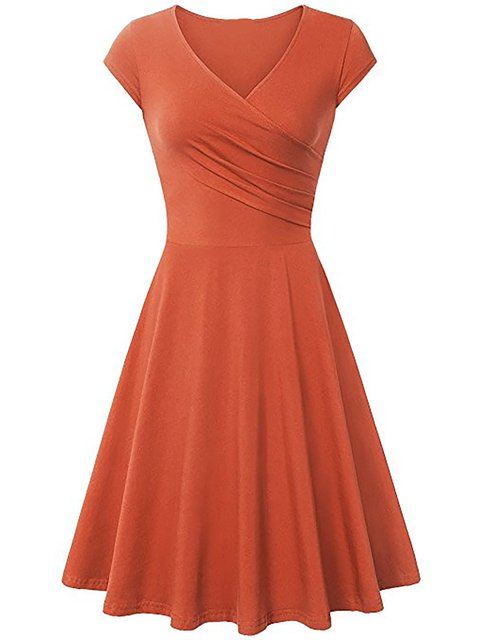 Swing Women Daily Basic Cotton-blend Summer Dress