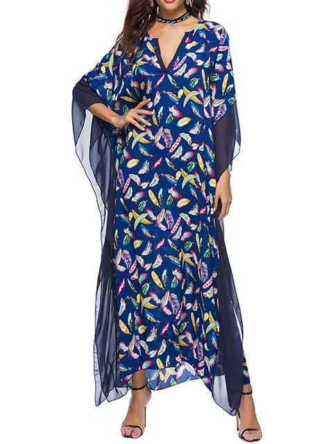 V neck  Women Daily Batwing Basic Floral Floral Dress