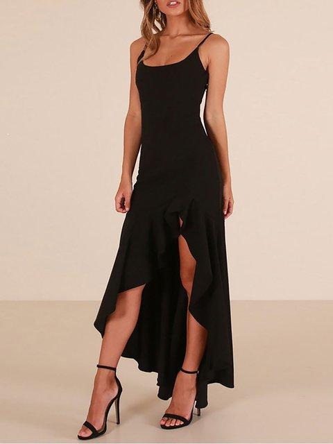 ada7f688852 JustFashionNow Black Women Prom Dress Crew Neck Swing Dress ...