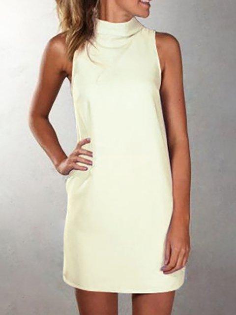 Turtleneck  Sheath Women Sleeveless Basic Paneled Summer Dress