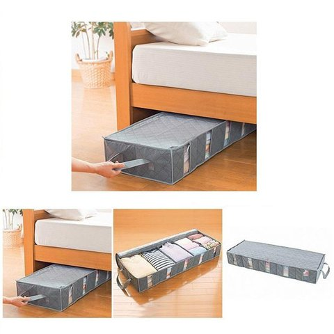 5 Slots Underbed Bamboo Charcoal Storage Bags Folding Under Bed Organizer Bags 52L
