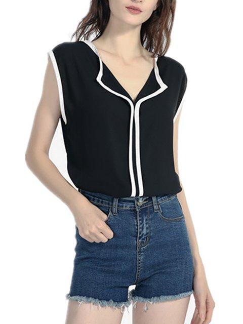 Women T-Shirt Linen Sleeveless Plain Shirt Collar