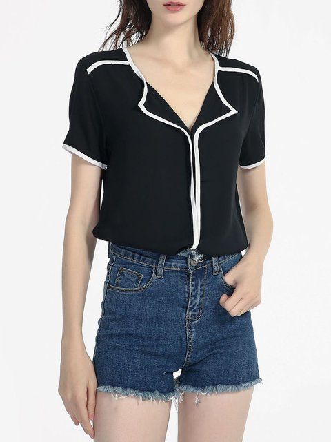 Women Blouse Short Sleeve Binding Plain Shirt Collar