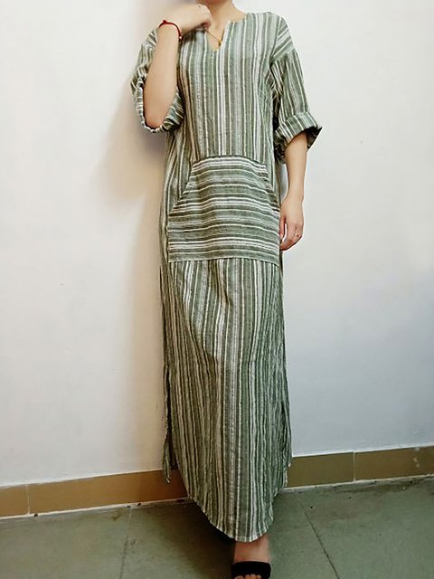 V neck  Women Daily Cotton Half Sleeve Paneled Striped Summer Dress