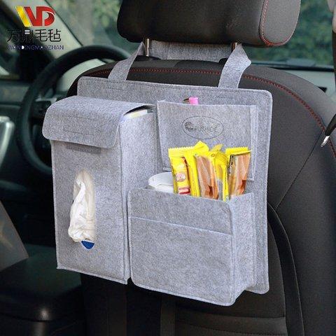 Felt Car Seat Storage Bag Organizer Holder Multi Pocket Travel Storage Hanging Bag