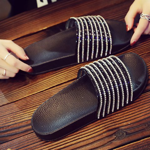 Women PU Slippers Casual Rhinestone Shoes