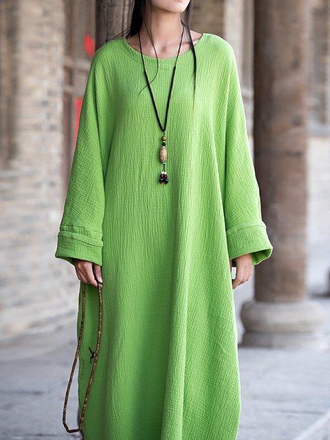 Cotton Women Long Daily Dress Casual Sleeve Shift Plain RFwPpxRq