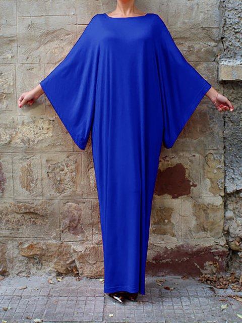 Shift Women Daily Batwing Cotton Basic Paneled Plain Spring Dress