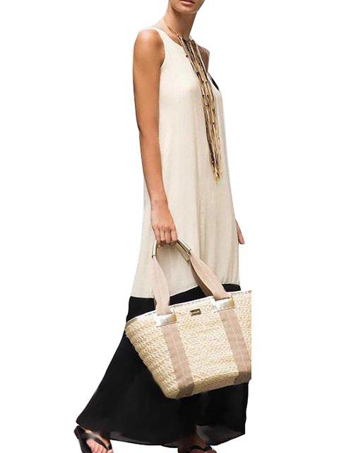 Summer Halter Statement Dress Plain Women Swing Sleeveless Paneled Daily rtP0tx8q