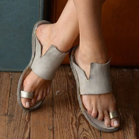 Women Leather Slippers Casual Fashion Flat Strap Plus Size Shoes