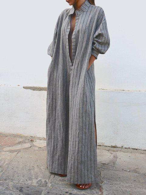 Plunging neck  Women Beach Balloon Sleeve Holiday Striped Summer Dress