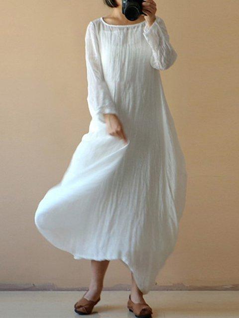 Bateau/boat neck  Swing Women Daily Basic Long Sleeve  Plain Casual Dress