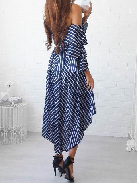 Summer Off Striped Women Balloon Blue Prom Shoulder Swing Sleeve Paneled Dress xFwC4gqxn