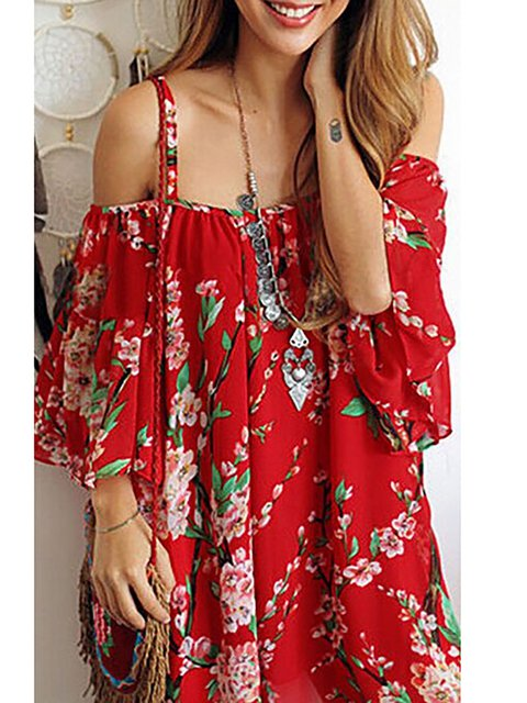 Red  Women Date Spaghetti Floral Floral Dress