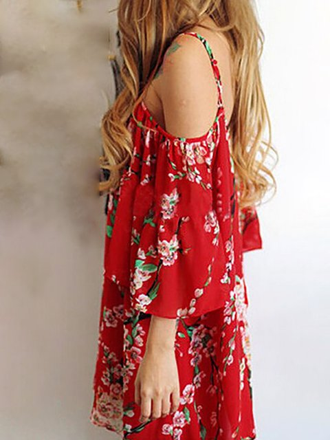 Floral Floral Spaghetti Dress Red Date Women nqAwUI