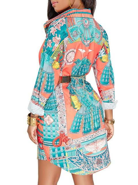 Sleeve Long Abstract Sheath Dress Paneled V Women neck Floral Green Daily THCHqn