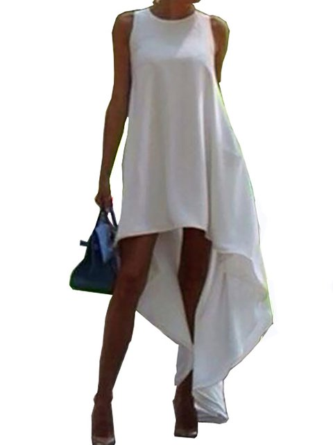 Women's Swallowtail Unbalanced Hem Relaxed Leisure Frill Sleeveless Party Midi Dress