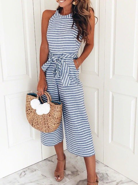 Women Sleeveless Striped Halter Jumpsuit