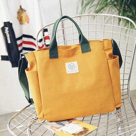 Women Solid Canvas Leisure Crossbody Bag Large Capacity Handbag