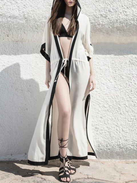 Hoodie  Women Bell Sleeve Binding Solid Summer Dress