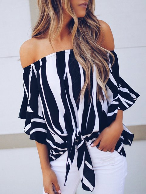 Women Frill Sleeve Off Shoulder Striped Shirts Blouse