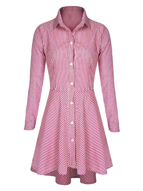 Collar Cotton Casual Sleeve Dress Women blend Long Striped Paneled Fall Shirt dwnIaqTCxd
