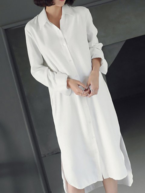 Shawl Collar White A-line Women Date Long Sleeve Casual Cotton Slit  Casual Dress