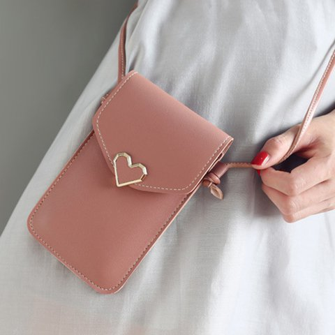 Touch Screen Vintage Buckle PU Casual Phone Bag Purse Crossbody Bags