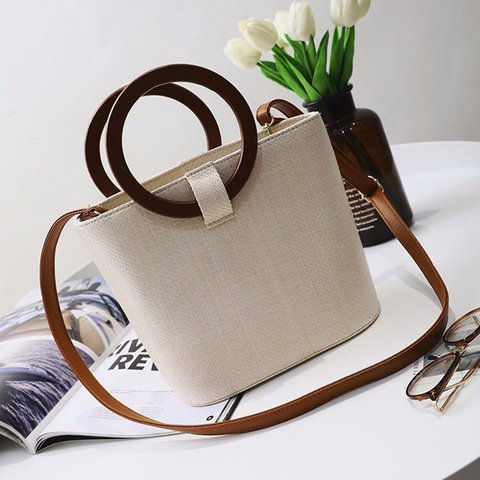 Womens Casual Drawstring Straw Tote Bags Shoulder Bags