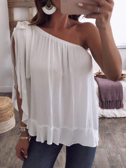 Women White One Shoulder Sleeveless Blouse
