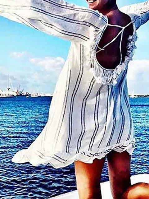 White Swing Women Cotton Long Sleeve Striped Summer Dress