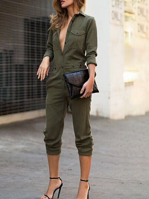 Army green Long Sleeve Pockets Shirt Collar Jumpsuit