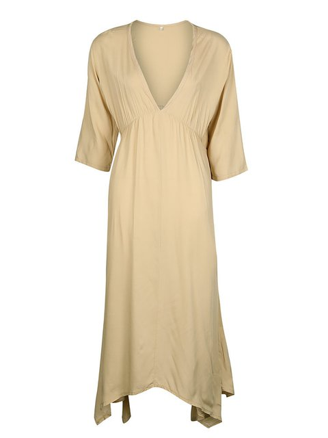 082665df3787 Women Half Sleeve V-Neck Swing Dress - JustFashionNow.com
