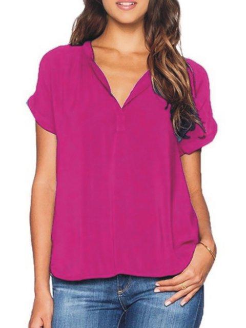 neck V Shirts Women Sleeve Blouse Short qExqYnt