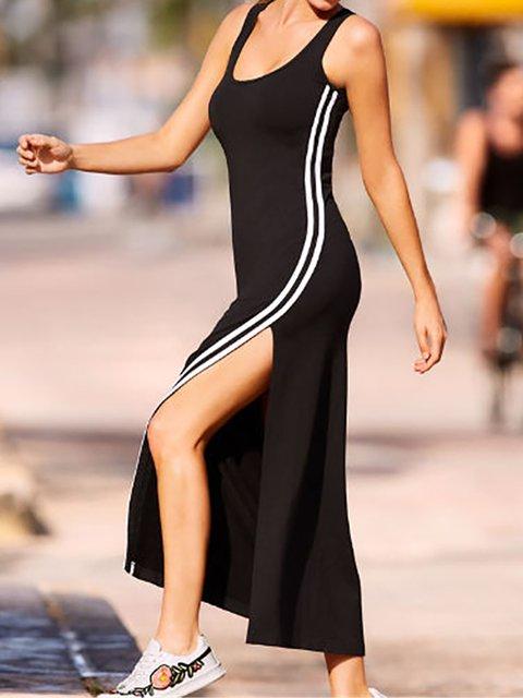 Black Sheath Women Daily Elegant Sleeveless Slit Plain Summer Dress