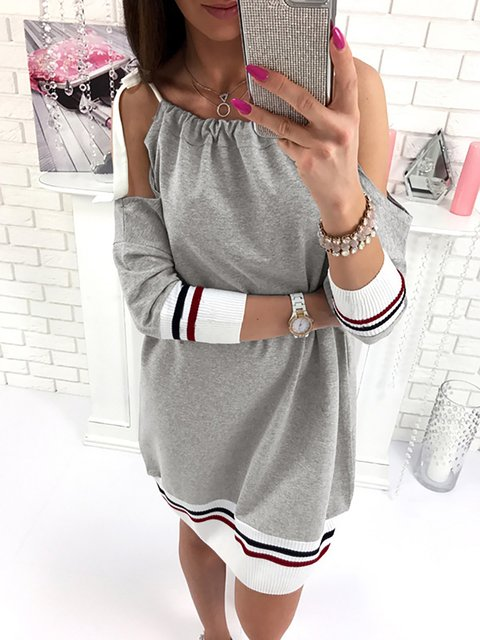 Sheath Women Daily Cold Shoulder Basic Paneled Plain Summer Dress