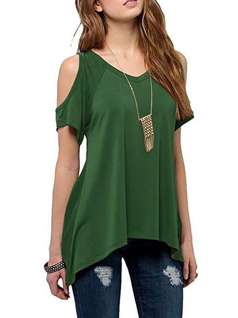 Women Cold Shoulder Basic Plain V neck Paneled T-Shirt
