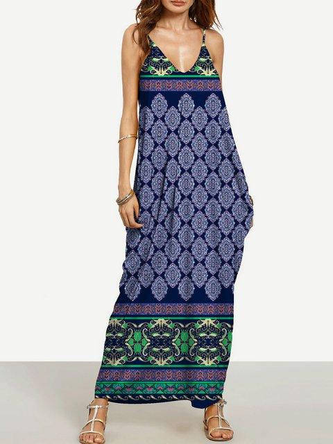 Sheath Women Daily Sleeveless Basic Paneled Abstract Floral Dress