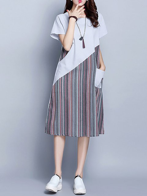 Women Daily Short Sleeve Cotton Paneled Striped Casual Dress