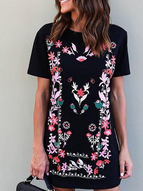 Black Sheath Women Daily Basic Short Sleeve Paneled Floral Floral Dress