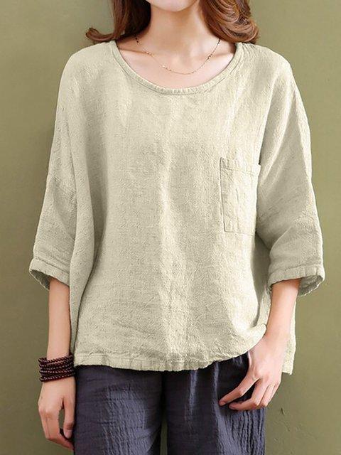 Cotton Half Sleeve Solid Crew Neck T-Shirt