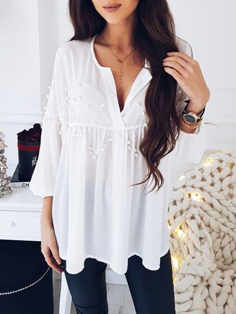 3149ffee08f White Solid V neck Long Sleeve Embellished Blouse - JustFashionNow.com