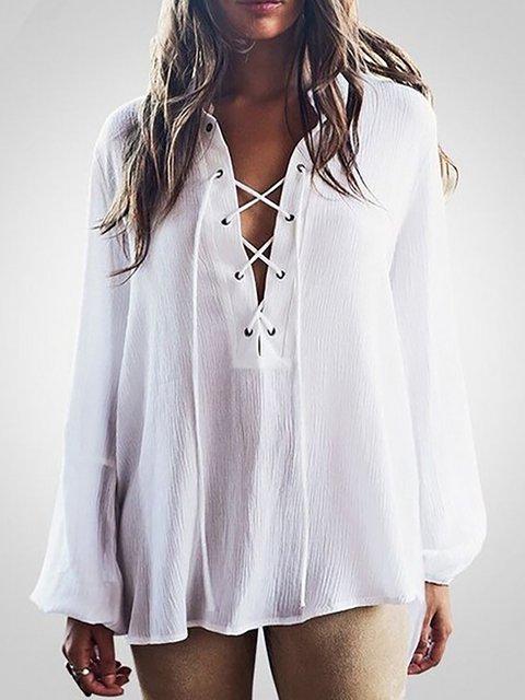 White Solid V neck Long Sleeve Blouse