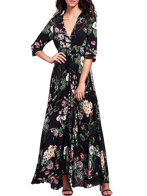neck 3 4 Statement Paneled Black Dress V Floral Daily Floral Sleeve Swing Women UYnfqfaZd