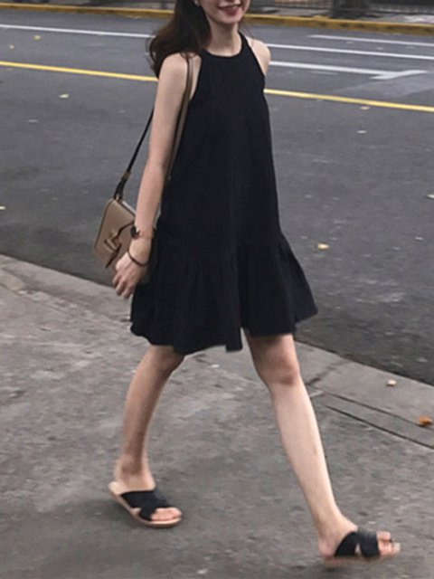 Black A-line Women Daily Sleeveless Basic Solid Casual Dress