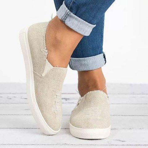 Plus Size Loafers Worn Hole Round Toe Slip-On Flat Shoes