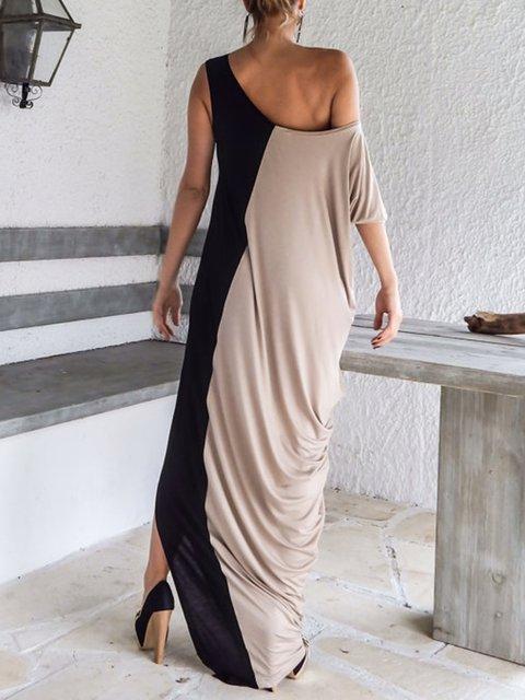 Slit Dress Summer Single Sheath Party Women Solid Sleeve qITRawf